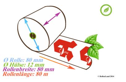 """40 Thermorollen 80x80x12, 80 m, ohne Bisphenol-A (BPA), mit rotem Apotheken """"A"""""""